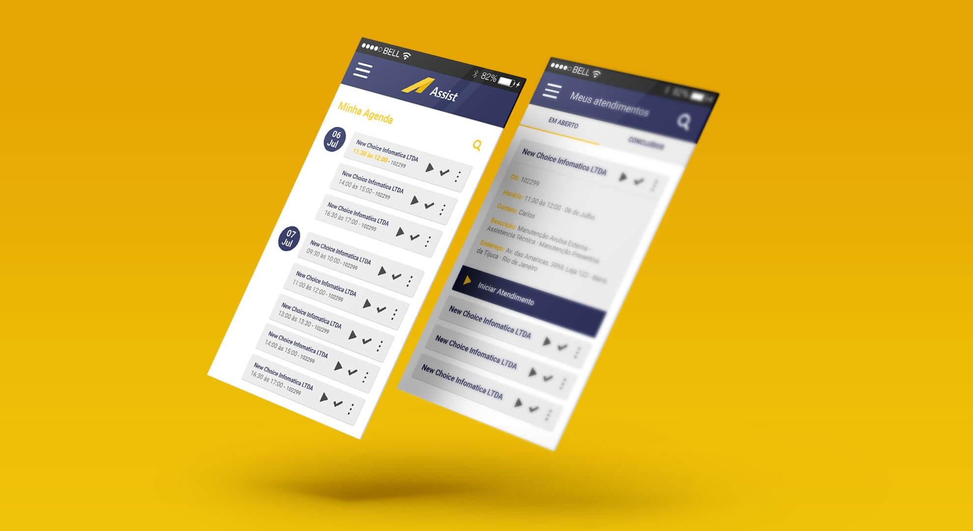 Layout de App New Choice